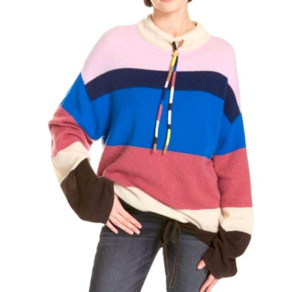 Theory Cashmere Stripe Mock Neck Pullover